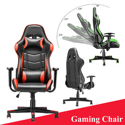 Luxury Racing Gaming Chair Rocking Office Computer Swivel Leather Adjustable New