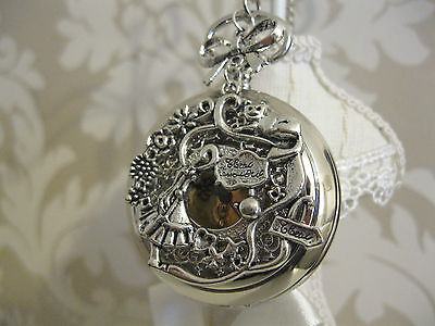 """New  """"Alice in Wonderland"""" Large Silver Tone Unique Pocket Watch Necklace Gift"""