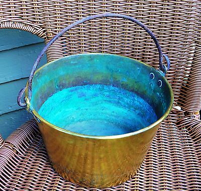 Brass Copper Bucket American Antique New England Iron Rat Tail Handle Dated 1865