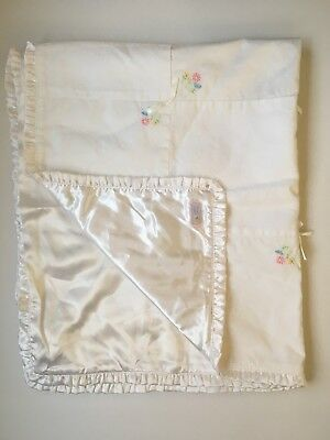 93345a6ae Carters Sweet Daisy White Patchwork Embroidered Baby Blanket Satin Ribbon  Bows