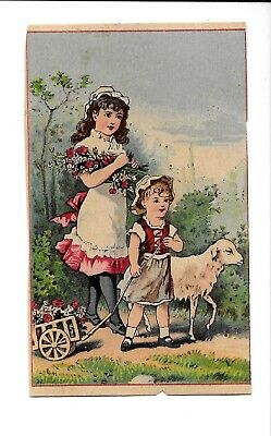 Vintage Victorian Trade Card Advertising Jersey Coffee BOY & GIRL WITH LAMB