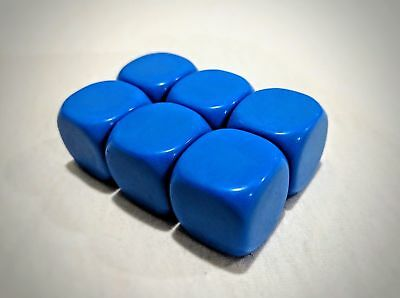 22mm Blue Blank Rounded Dice Cubes for Games, Teaching, Proxy Dice - Pack of 6