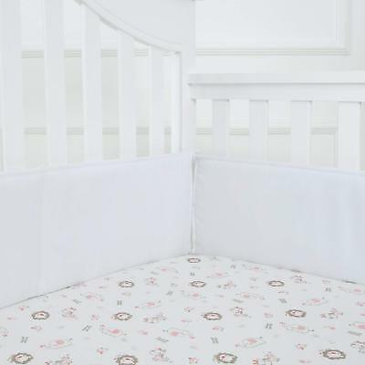 TILLYOU Baby Breathable Crib Bumper Pads for Standard Cribs 4PC WHITE
