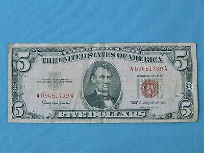 US 1963 Red Seal 5 Five Dollar Bill A 4 Note Paper Money