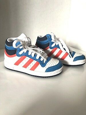 885ed743b9e Adidas Top Ten Boys Hi Tops Red White Blue Patriotic Sneakers Youth Size  10.5