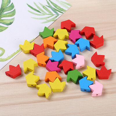 Wooden Maple Leaf Star Heart-shaped Loose Beads Mix color DIY Accessories
