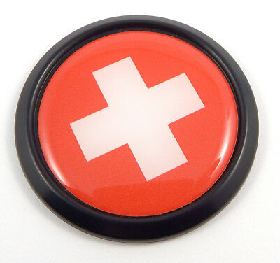 Swiss Switzerland Black Round Flag Car Decal Emblem bumper 3D Sticker 1.85""