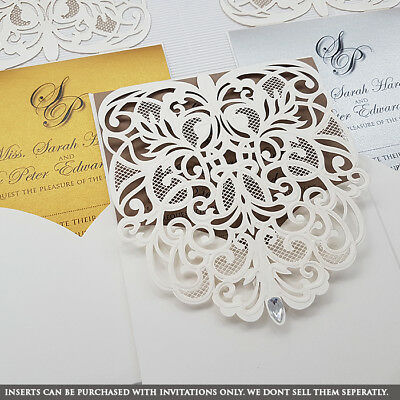 Personalised Wedding Invitation Diamante Laser Cut Personalise Ivory