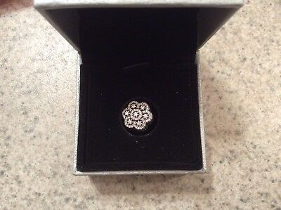 Authentic Pandora Sterling Silver  Bloom Flower Crystal CZ Charm Bead