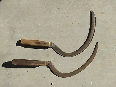 Vintage Antique Hand Sickle Scythe Lot of 2 of Old Farm Tools