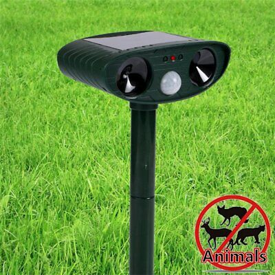 Solar Powered Motion Activated Animal Ultrasonic Garden Cats Dogs RepellR3