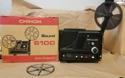 Vintage Antique Chinon SOUND 6100 Super 8 Movie Projector 8mm WITH BOX -Untested