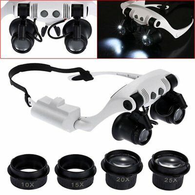 10x15x 20x 25x Head Wearing Magnifier Magnifying Glass Loupe With 2 LED Light NE