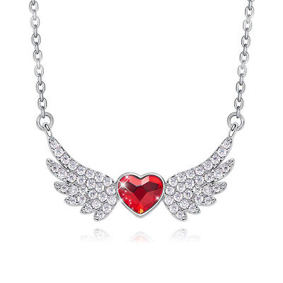 Angel Wings Heart Necklace Ruby Heart Stone Silver Pendant Wing Memorial Love