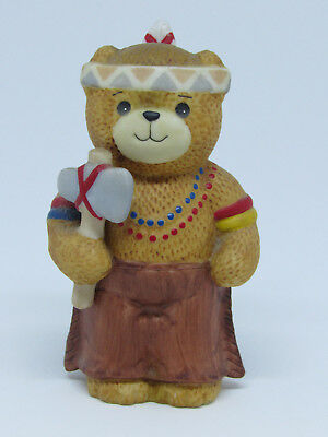 1984 Lucy & Me Bear Figurine Dressed As A Native American Indian With Tomahawk