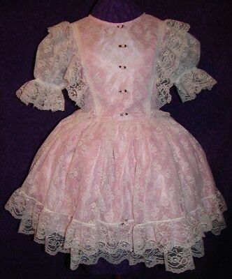 Enchanting Lace and Candy Pink Satin Sissy Lolita Adult Baby Custom Aunt D
