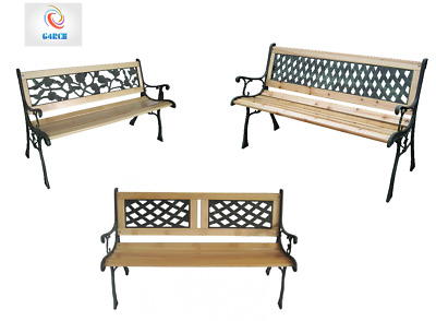 Outdoor Wooden 3 Seater Cross Rose Garden Bench Park Seat with Cast Iron Legs UK
