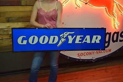 Goodyear tin 2 sided Tire Advertisng Gas Station Service Garage sign NICE shape