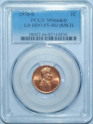 1970 S PCGS MS66RD FS-103 Red Double Doubled Die Obverse DDO Lg Dt Lincoln Cent