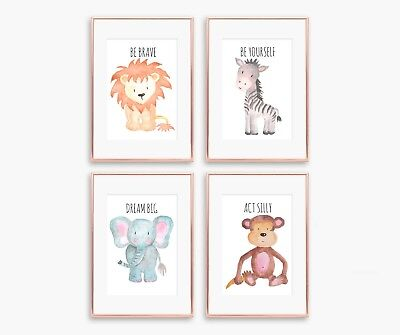 4 x Nursery/Baby/Kids Boys Girls Wall Prints animals lion,elephant,zebra,monkey