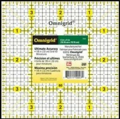 "4 INCH x 4 INCH - 4"" x 4"" OMNIGRID SQUARE TEMPLATE RULER PATCHWORK QUILTING BNEW"