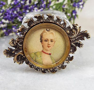 Antique Victorian Rococo Revival Miniature Hand Painted Portrait Lady Brooch Pin