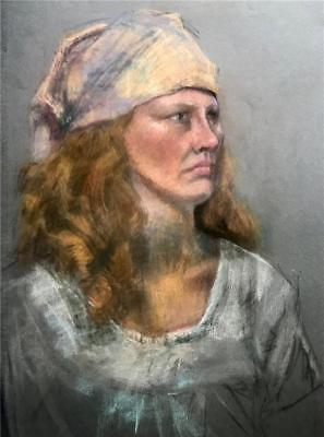 Original Vintage Drawing Pastel Portrait of a Woman