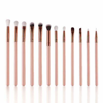 12x Pink Eyeshadow Blending Pencil Eye Brushes Set Makeup Tool Cosmetic Brush
