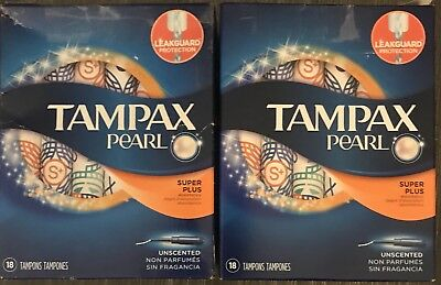 Lot Of 2 Tampax Pearl Unscented Tampons, Super Plus. 18ct Each = 36 Total!