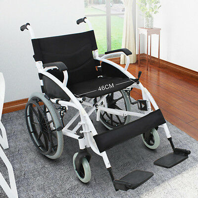 Foldable Wheelchair Lightweigt Trolley Manual Mobility Aid Care Widen 46cm Seat