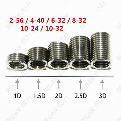 304 Stainless Helicoil Screws 2#-56 4#-40 6#-32 8#-32 10#-24 Thread Inserts