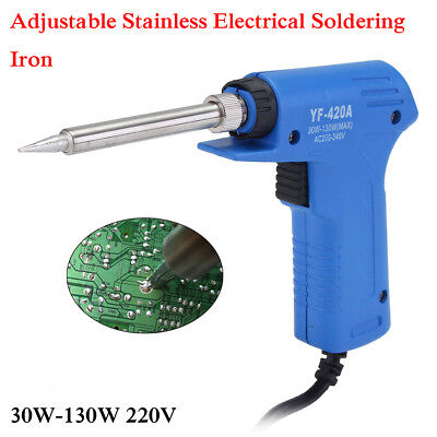 220V Adjustable Professional Dual Quick Heat-Up Soldering Iron Gun 30W-130W New