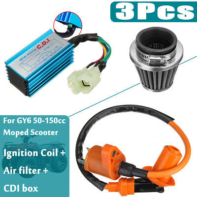 6 Pin Racing AC CDI Box+Ignition Coil +Air Filter For GY6 50-150cc Moped Scooter