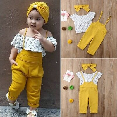 USA Toddler Kid Baby Girl Clothes Off Shoulder T-shirt Tops+Leggings Outfits Set
