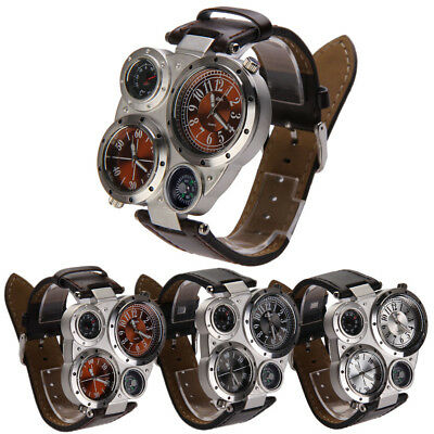 Men Military Army Dual Time Zones Movements Quartz Sport Watch Big Dial Leather