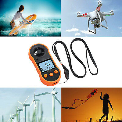 Digital Wind Speed Meter Thermomoter For Sailing Surfing Handheld Anemometer US