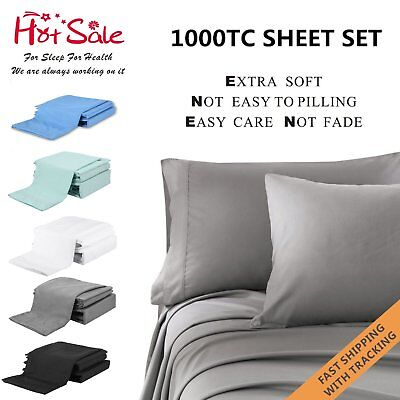 4PCS 1000TC Ultra SOFT Flat Fitted Sheets Set Single/Double/Queen/ King Size Bed