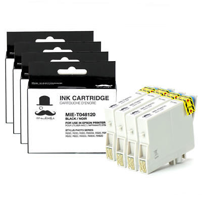 Moustache® 4pk T048120  Black Ink Cartridge for Epson Stylus Photo R300M RX620
