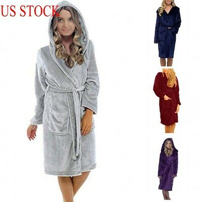 7da3556d59 Luxury Womens Mens Thermal Coral Fleece Dressing Gowns Super soft Bath Robes  US