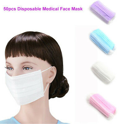 50pcs Disposable Surgical Medical Face Mouth Dust Clean Hygienic Mask-4 Colours