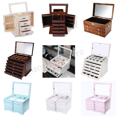 Large Wooden Jewellery Box Organizer Storage Display Ring Necklace Case Gifts