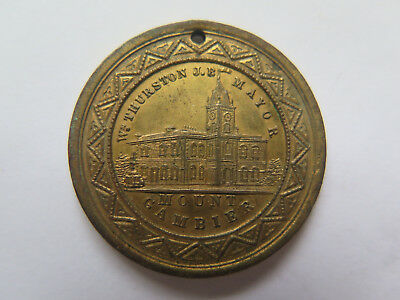 1887 MOUNT GAMBIER QUEEN VICTORIA JUBILEE MEDALET 1837 to 1887 Wm THURSTON MAYOR