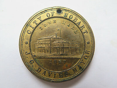 1897 CITY of HOBART QUEEN VICTORIA JUBILEE MEDALET 1837 to 1897 J G DAVIES MAYOR