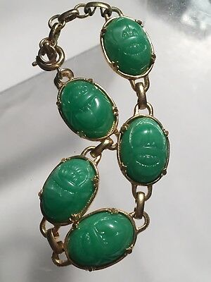Vintage Egyptian Revival Faux Green Jade Carved Scarab Beetle Bug Bracelet 7.5""