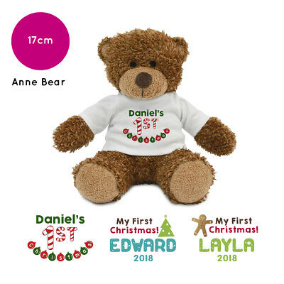 Personalised Name 1st First Christmas Anne Teddy Bear Baby Stocking Filler Xmas