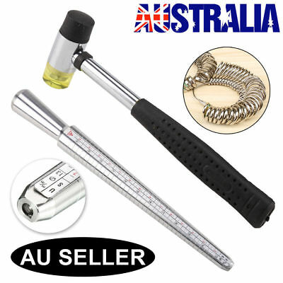 US Size Stainless Steel Ring Stick Sizer Mandrel Finger Guage Measuring Hammer