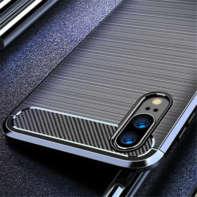 For Huawei P20 Pro P10 P9 P8 Lite 2017 Fiber Carbon Silicone Rugged Case Cover