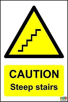 Caution steep stairs sign - 1.2mm rigid plastic 300mm x 200mm