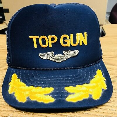 a9d90ec2a3f Vtg Top Gun Mesh Trucker Hat Navy Blue Snapback Ball Cap Fighter Pilot  Cruise