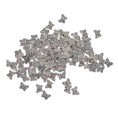 100x Tibetan Silver Connector Metal Butterfly Spacer Beads Jewelry Findings